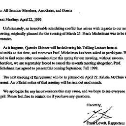 Announcements, 1999-03-04. ...