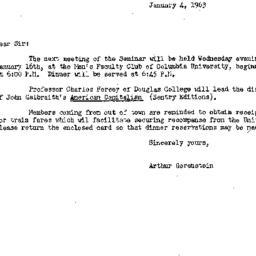 Announcements, 1963-01-04. ...