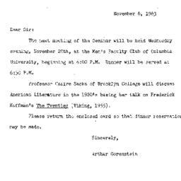 Announcements, 1963-11-06. ...