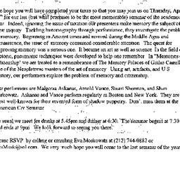 Announcements, 1999-04-15. ...