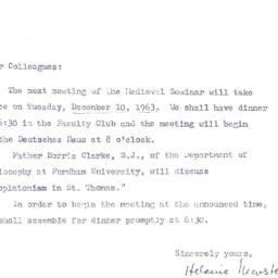Announcements, 1963-12-10. ...
