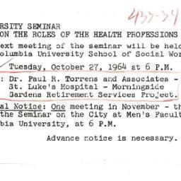 Announcements, 1963-10-19. ...