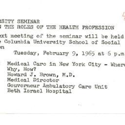 Announcements, 1965-02-03. ...