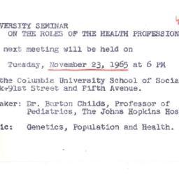 Announcements, 1965-11-03. ...