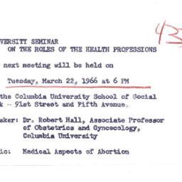 Announcements, 1966-03-22. ...