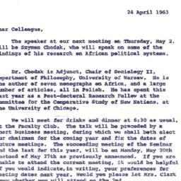 Announcements, 1963-04-24. ...