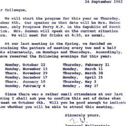Announcements, 1962-09-24. ...