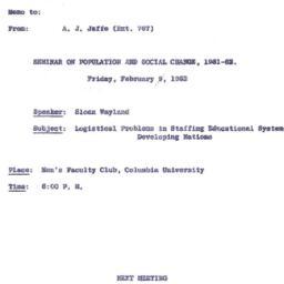 Announcements, 1962-01-24. ...