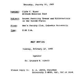 Announcements, 1965-01-12. ...