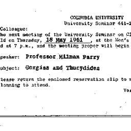 Announcements, 1961-05-18. ...