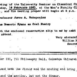 Announcements, 1961-02-16. ...