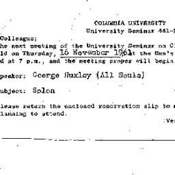 Announcements, 1961-11-16. ...
