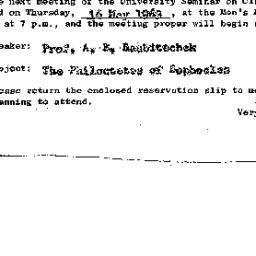 Announcements, 1963-05-16. ...