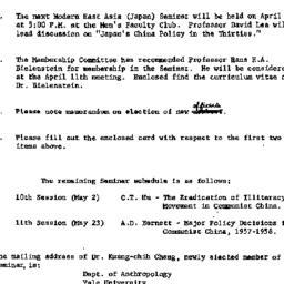 Announcements, 1962-04-04. ...