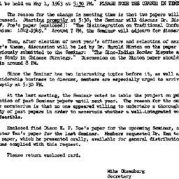 Announcements, 1963-05-01. ...