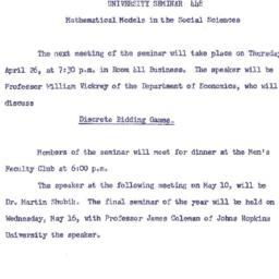 Announcements, 1962-04-16. ...