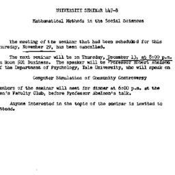 Announcements, 1962-11-26. ...