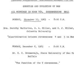 Announcements, 1965-11-15. ...
