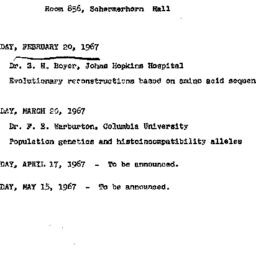 Announcements, 1967-02-20. ...