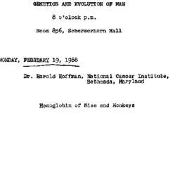 Announcements, 1968-02-19. ...