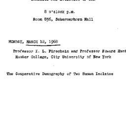Announcements, 1968-03-18. ...