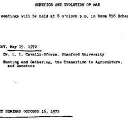 Announcements, 1972-05-15. ...