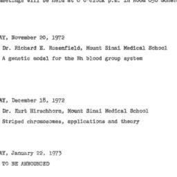 Announcements, 1972-11-20. ...