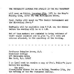 Announcements, 1971-12-17. ...