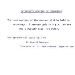 Announcements, 1961-10-18. ...