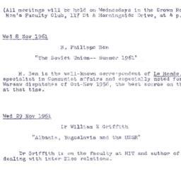 Announcements, 1961-11-08. ...