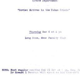 Announcements, 1962-12-06. ...