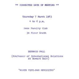 Announcements, 1963-03-07. ...