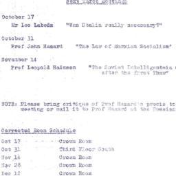 Announcements, 1962-10-17. ...