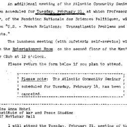 Announcements, 1967-01-30. ...