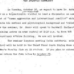 Announcements, 1971-10-13. ...