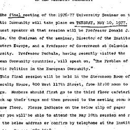 Announcements, 1976-05-10. ...