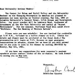 Announcements, 1986-04-20. ...