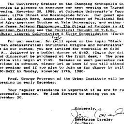 Announcements, 1986-10-24. ...