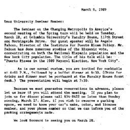 Announcements, 1989-03-08. ...