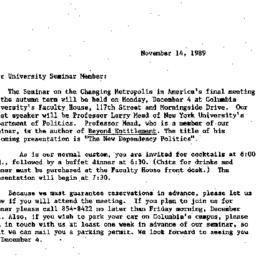 Announcements, 1989-11-14. ...
