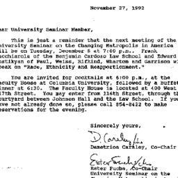 Announcements, 1992-11-27. ...