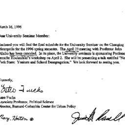Announcements, 1996-03-26. ...