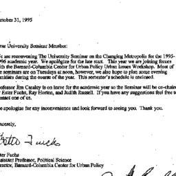 Announcements, 1995-10-31. ...