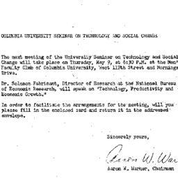 Announcements, 1963-05-09. ...