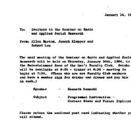 Announcements, 1964-01-14. ...