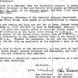 Announcements, 1976-02-11. ...