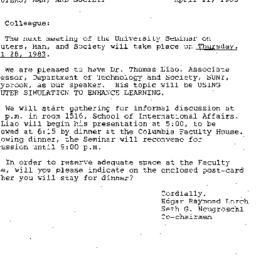 Announcements, 1983-04-11. ...