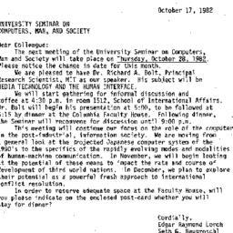 Announcements, 1982-10-17. ...