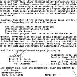 Announcements, 1985-04-05. ...