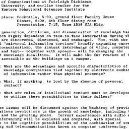 Announcements, 1985-12-09. ...